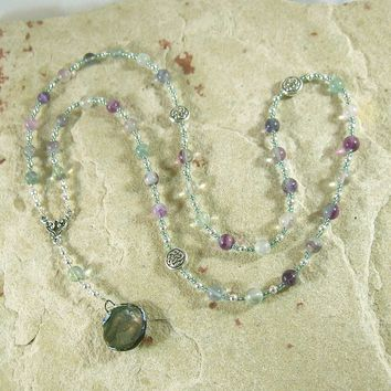 Sigyn Prayer Bead Necklace in Rainbow Fluorite: Norse Goddess of Devotion, Bride of Loki