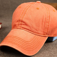 Orange Vintage Washed Cotton Baseball Cap Gift