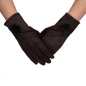Women Winter Cotton and Lace Warm Gloves Thick Mitten Full Finger Soft in Black Red Blue Grey Brown Colour