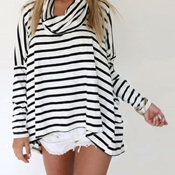 Turtle Neck Long Sleeve Striped T-Shirt