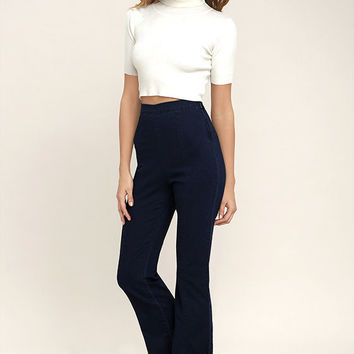 Michigan Avenue Dark Wash High-Waisted Cropped Flare Jeans