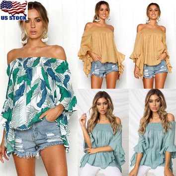 Womens Off Shoulder Floral Baggy T Shirt Ladies Bell Sleeve Loose Tops Blouse US