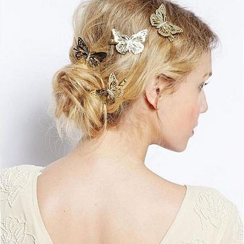 1 x Hair Clip 2017 Hot New Women Shiny Golden Butterfly Hair Clip Headband Hairpin Accessory Headpiece