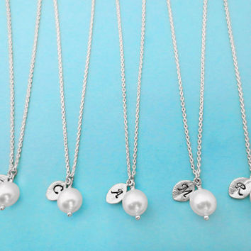 Set of 5, Personalized, Letter, Initial, Leaf, 8mm, White, Pearl, Silver, Necklace, Sets, Wedding, Bridesmaid, Bridal, Gift, Jewelry