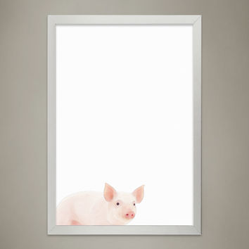 Baby PIG Animal Print Nursery wall decor, Wall Art for Children's room, Baby Room Decor, Watercolor Animal Illustrations