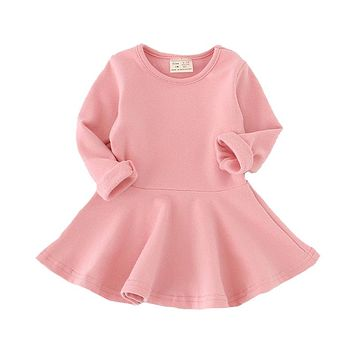 STYLEDOME Girls Dress princess Autumn Kids Dresses for Baby Girls clothes Long Petal Sleevel solid