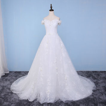 Wedding Dresses 2017 Real Photo Ball Gown Flower Swetheart Appliques Cap Sleeve Beaded White Dress Long Train Robe De Mariage