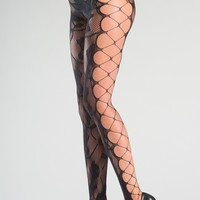 Crotchless Floral Fishnet Tights