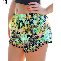 Summer Style Floral Tropical Leaves Prints Tassel Elastic Waist Casual Hot Shorts Women 2016 Fashion
