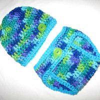 WildFlower blue purple and green with aqua trim Baby Diaper Cover and Baby Hat Set 0- 3 months Ready to ship Photo Prop