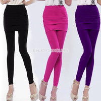 Women EN24H Nylon Full Skirt Footless Stretch Seamless Pants Legging Tights