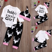Newborn Baby Girls Little Clothes Sets Tops Romper + Long Pants Cute Animals Cotton Hat Outfits Set Clothes
