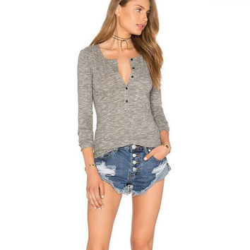 Grey V-Neck Buttoned Long Sleeve Blouse