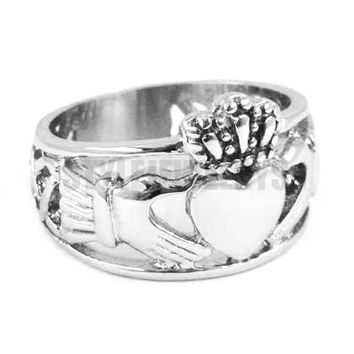 Free shipping! Claddagh Style Hand to Hold a Heart with Crown Ring Stainless Steel Jewelry Celtic Knot Women Biker Ring SWR0308A