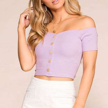 Birdie Lavender Off The Shoulder Top