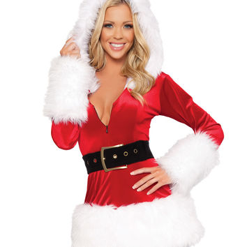 Red & White Hooded Santa Mini Dress