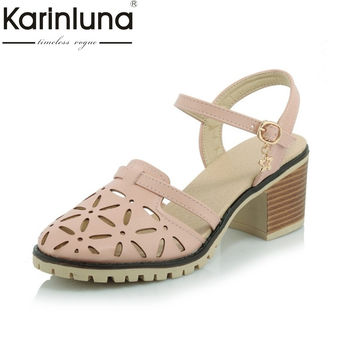 2017 round toe cut-outs platform chunky heels women shoes fashion lady buckle popular woman sandals summer casual big size 34-43