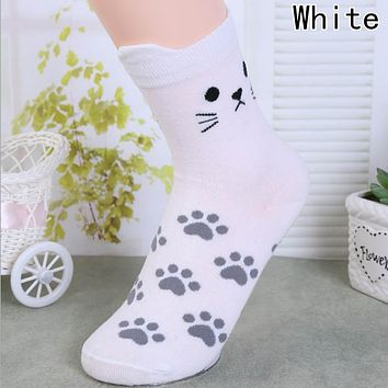 Candy Color Cute Cat Ear Paw Print Women Girl Cotton Ankle Socks in Tube Korean Harajuku Funny Casual Vintage White Yellow