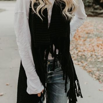 Black Plain Tassel Acrylic Fashion Cardigan Sweater