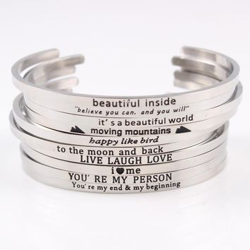 Message Bangles Engraved Positive Inspirational Quote For Women Best Gifts