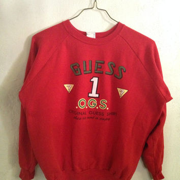 Vintage Guess by Georges Marciano/Red guess sweater/ Original Guess Shirt/80s sweater