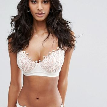 ASOS FULLER BUST PREMIUM Corded Lace Underwired Plunge Bikini Top DD-G at asos.com