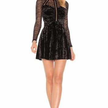 Black Lace Velvet Long Sleeve Mini Dress