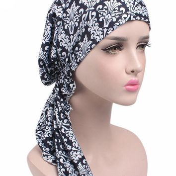 2017 New Fashion Women Pre Tied Bandana Head wrap Chemo Head Hair Cover Sleep Cap Turban Ladies Casual Floral