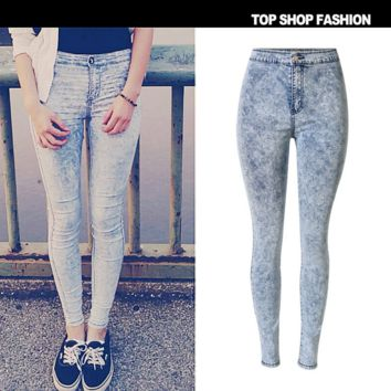 Hot sale fashion high waist Snowflakes tie-dye feet cowboy pants