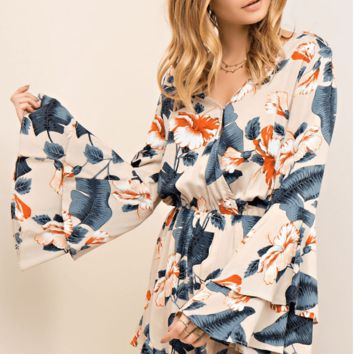 Paradise Floral Bell Sleeve Romper