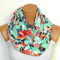 multicolored flower scarves,Infinity Scarf,nomad scarf,Loop Scarf,Circle Scarf,cotton fabric Scarf,Cowl Scarf, Eternity Scarf