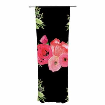 "Li zamperini ""Bouquets"" Black Pink Floral Nature Illustration Watercolor Decorative Sheer Curtain"