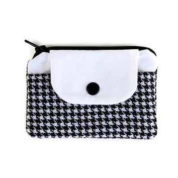 Classic Houndstooth Coin Purse and Cardholder in Black and White, Pocket Sized Wallet, Small Zippered Pouch with FREE SHIPPING