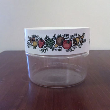 "Vintage 1970s Pyrex Ware Store N See Canister Featuring ""Spice of Life"" Pattern / Stackable Glass Canister / Jar / Cannister"