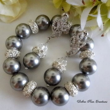 Swarovski Grey Pearl Bracelet Earrings Set Grey Wedding Bridal Jewelry Gray Bridesmaid Jewelry Grey Pearl Bracelet Set Mother of Bride Groom
