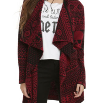 Iron Fist Black Red Skull Cardigan