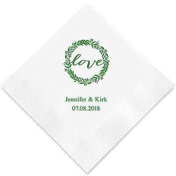 Love Wreath Printed Paper Napkins (Sets of 80-100)