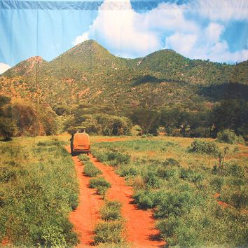 Van Driving Through Mountains On Dirt Road Platinum Cloth Backdrop 10x8 - LCPCSL346 - LAST CALL