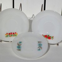 Fire King Milk Glass Saucers Tulip, Rose and Blue Corn Flower