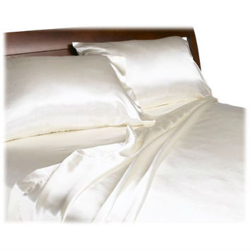 Full size Luxurious Satin Sheet Set in Solid Ivory