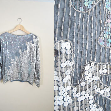 Silver Leaf - Vintage 80s Silver Beaded Party NYE Deco Blouse Shirt Top Metallic