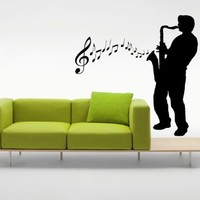 Wall Decal Vinyl Sticker Man Saxophone Music Note Bedroom Living Room B252