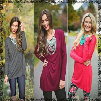 Plus Size Long Sleeve T-shirts Women's Fashion Bottoming Shirt [7322408769]