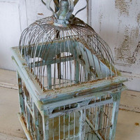Distressed metal wooden bird cage light blues seafoam colors shabby chic beachy home decor Anita Spero