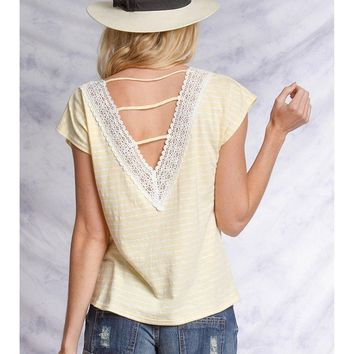 Striped Top w/Back Opening, Yellow
