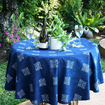 Round Table Cloth In Hmong Indigo Batik Naturally Dyed Cotton 60 inch or 90 Inch