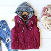 Forest Smoke Hooded Vest in Burgundy