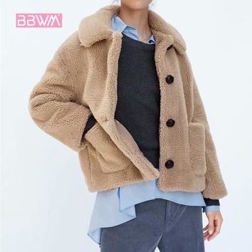 2018 winter  New women's plush texture casual warm jacket   Lapel single-breasted pink pocket with cute coat
