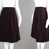 Vintage 70s JAEGER Skirt Dark Wine Velvet Skirt A Line Skirt Evening Skirt Party Skirt Mid Length Office Skirt Asymmetrical Buttons 1970s