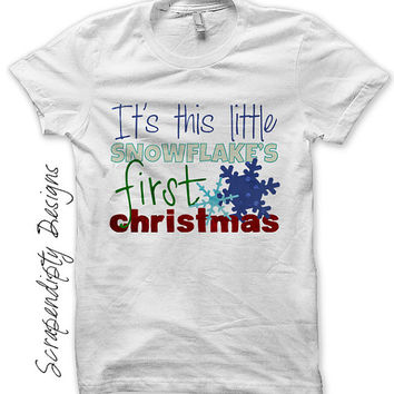 1st Christmas Iron on Transfer - Iron on Baby Shirt DIY / Baby First Christmas Outfit / Girls Kids Clothing / Snowflake Boys Clothes IT318-C